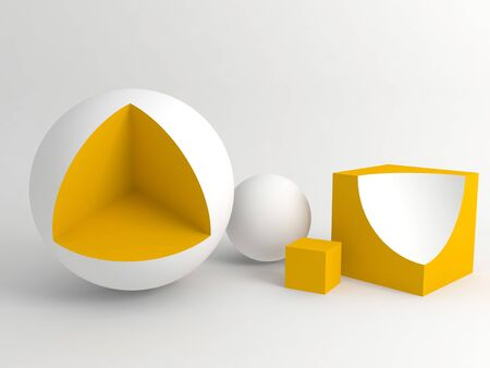 Abstract digital still life installation with yellow white geometric shapes over white soft shaded background. Subtract Boolean operation illustration. 3d rendering