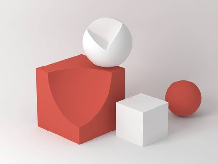 Abstract cg still life installation with red white geometric shapes over soft shaded background. Subtract Boolean operation illustration. 3d rendering Stock fotó
