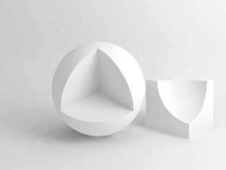 Abstract digital white still life installation with sliced cube and sphere. Subtract Boolean operation illustration. 3d rendering illustration