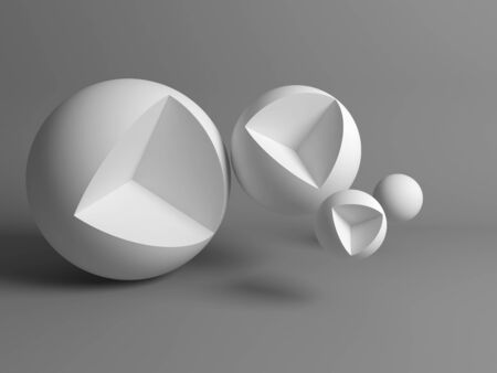 Abstract still life installation, white spheres with cubical cut sectors. 3d rendering illustration Stock fotó