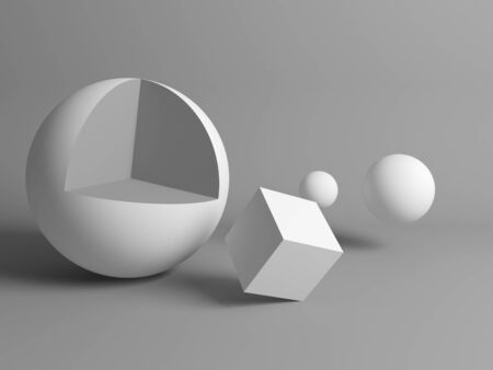 Abstract gray still life installation with white primitive geometric shapes. 3d rendering illustration