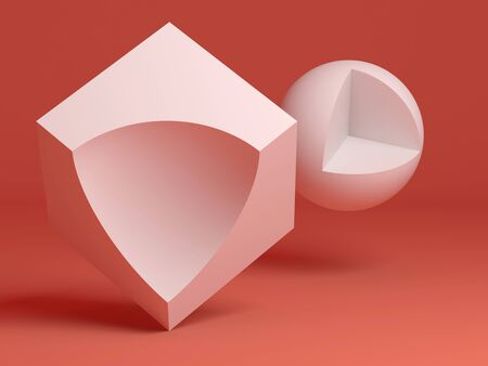 Abstract still life installation. White primitive geometric shapes with cut sectors over red background. 3d rendering illustration