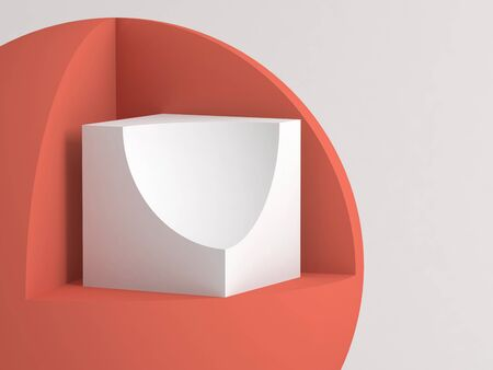 Abstract minimal still life installation. Primitive geometric shapes with cut sectors over white background. 3d rendering illustration