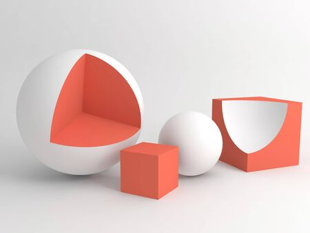 Abstract still life installation with red white geometric shapes over white soft shaded background. Subtract Boolean operation illustration. 3d rendering