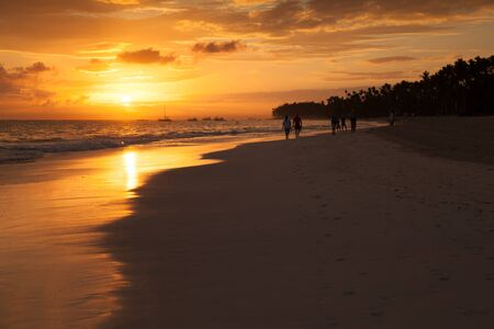 Bright sunrise over Atlantic ocean coast. Morning landscape of Bavaro beach, Dominican Republic