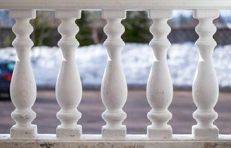 White balusters in a row, classic handrails decoration Stock fotó