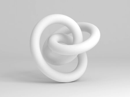 Geometrical representation of a torus knot shape. Abstract white installation on white