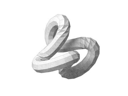 Torus knot low-poly geometrical representation.