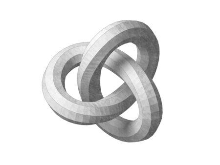 Torus knot low poly geometrical representation.