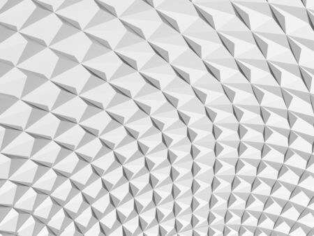 Abstract geometric background, white parametric triangular structure. Digital graphic pattern, 3d rendering illustration