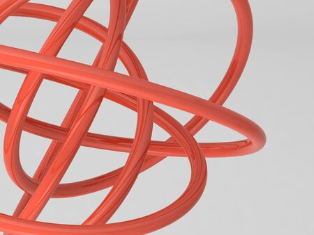 Red shiny geometric shape. Abstract installation on white background. 3d rendering illustration Фото со стока