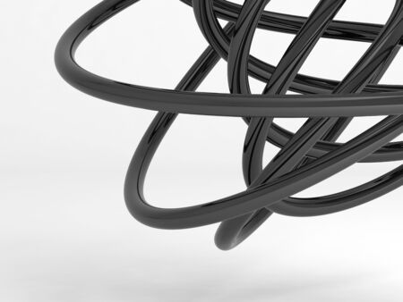 Black shiny geometric shape. Abstract installation on white background. 3d rendering illustration