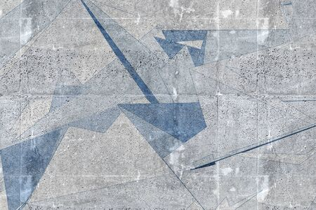 Abstract polygonal background texture, pattern with blue drawing over gray concrete wall. 3d rendering illustration Stock Photo