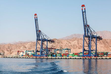 Aqaba, Jordan - May 17, 2018: Gantry cranes. Container terminal. Port of Aqaba at sunny day