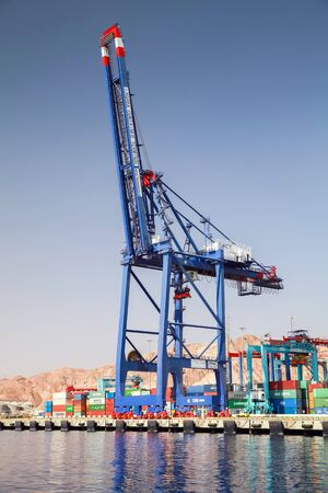 Aqaba, Jordan - May 17, 2018: Gantry crane at Container terminal in Port of Aqaba at sunny day