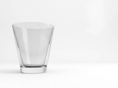 Empty standard table glass with soft shadow stands over white background, 3d rendering illustration 版權商用圖片