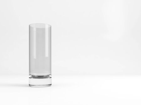 Standard empty high ball glass with soft shadow stands over white background, 3d rendering illustration