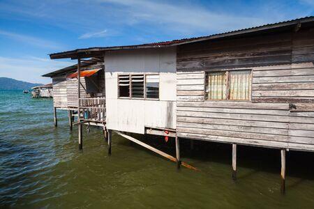 Wooden houses and barns on stilts. Sabah, Kota Kinabalu, Malaysia