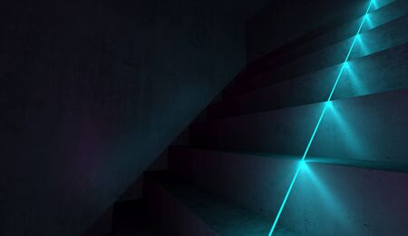 Abstract dark interior background with concrete stairs and blue neon light line, 3d rendering illustration