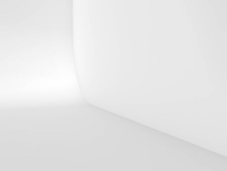 Abstract white empty studio background, blank interior fragment with rounded connection between wall and floor. 3d rendering illustration