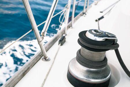 Sailing yacht equipment, sailbot winch close-up photo