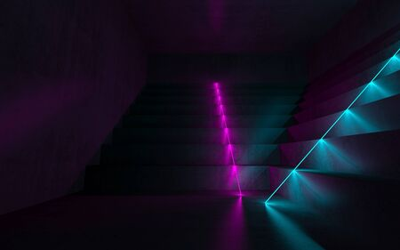 Abstract empty dark interior with concrete stairs and colorful neon lights,  digital graphic background, 3d rendering illustration 스톡 콘텐츠