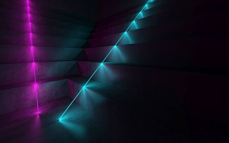 Abstract dark concrete interior, digital graphic background with stairs and colorful neon lights, 3d rendering illustration Foto de archivo - 132126543