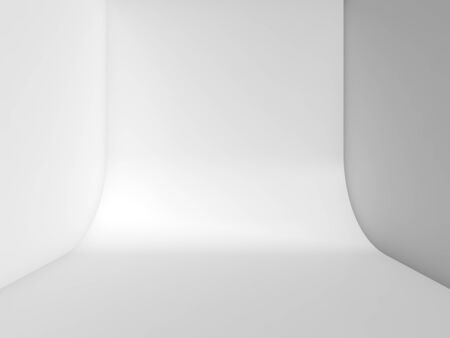 Front view of an abstract white empty studio, blank interior background with rounded connection between wall and floor. 3d rendering illustration Imagens - 132126659
