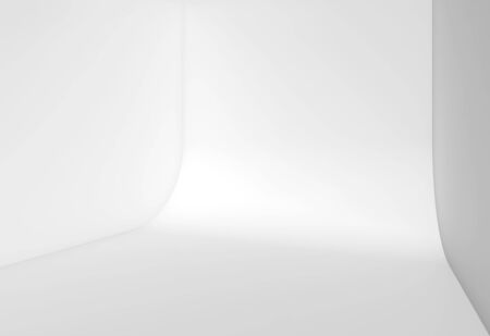 Abstract white empty studio interior background, blank room with rounded connection between wall and floor. 3d rendering illustration Imagens - 132126480