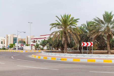Street view with palm trees at roundabout in Abu Dhabi, United Arab Emirates Stock Photo
