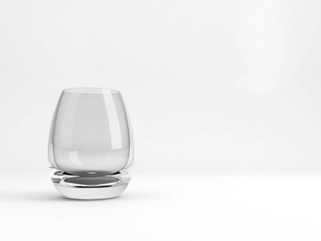 Standard empty Tumbler glass with soft shadow stands over white background, 3d rendering illustration 版權商用圖片