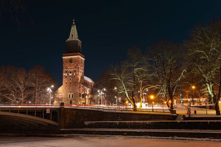 Night cityscape of Turku town with the main Cathedral in winter, Finland