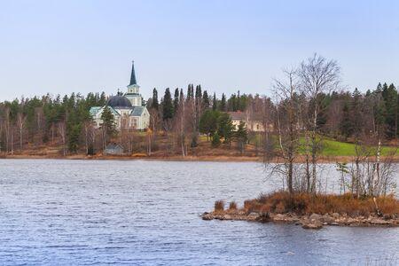 Autumn Finnish landscape with Church in Ruokolahti Stock Photo