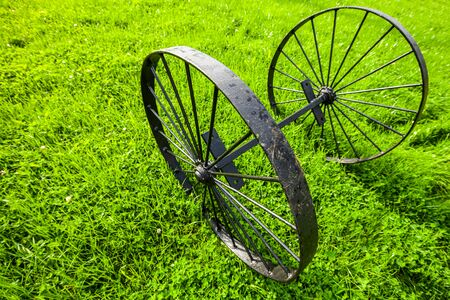 Vintage black metal wheels stand on green grass at sunny summer day, close up wide angle photo