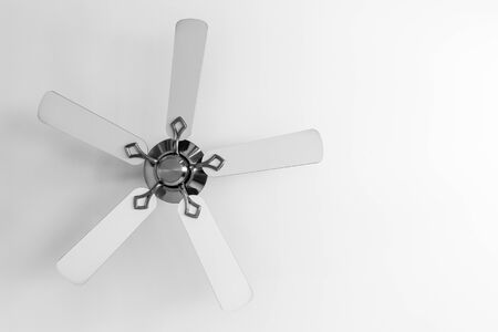 White ceiling fan close up photo with copy space area on the right side