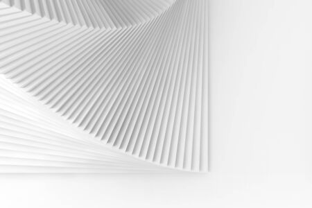 Abstract geometric background with copy space area, parametric installation with white spiral structure, 3d rendering illustration Reklamní fotografie