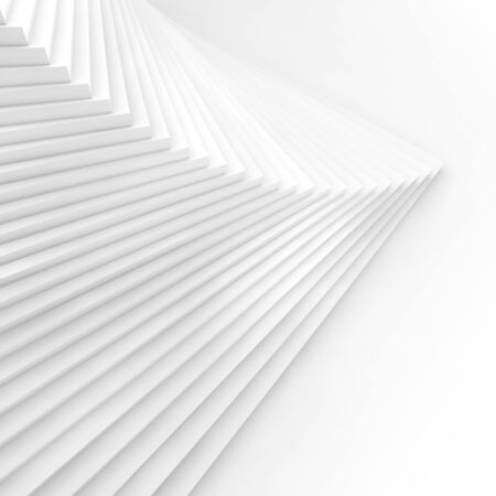 Abstract square white background, parametric spiral stairs installation, 3d rendering illustration
