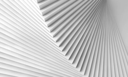 Abstract white geometric background, parametric architecture template with spiral white stairs installation, 3d rendering illustration Reklamní fotografie
