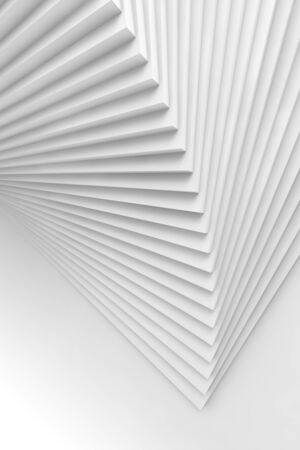 Abstract vertical geometric background, parametric installation of white spiral stairs, 3d rendering illustration