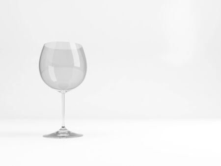 An empty standard Chardonnay wine glass stands over white background with soft shadow , 3d rendering illustration Imagens