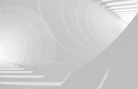 Abstract white tunnels. Background pattern with double exposure effect. 3d rendering illustration Stock fotó
