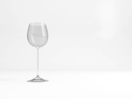 An empty standard Alsace wine glass stands over white background with soft shadow , 3d rendering illustration Stock Photo