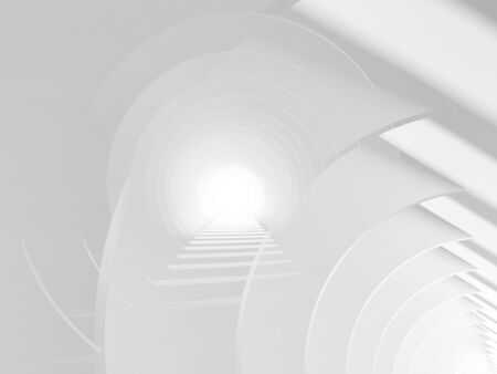 Abstract white tunnel background with double exposure effect. 3d render illustration