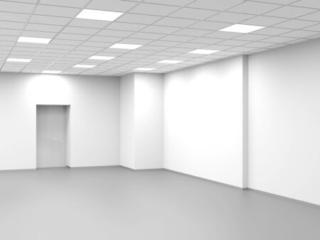 Abstract white interior, empty open space office background, 3d rendering illustration 스톡 콘텐츠