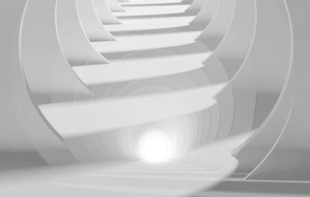 Abstract white tunnel perspective, background pattern with double exposure effect. 3d rendering illustration Stock fotó