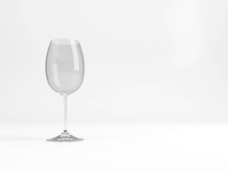 An empty standard white wine glass stands over white background with soft shadow , 3d rendering illustration