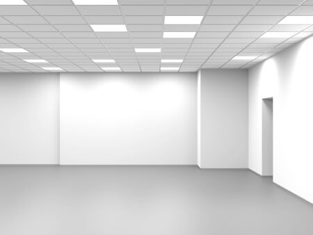 Abstract empty open space office, white interior background, 3d rendering illustration