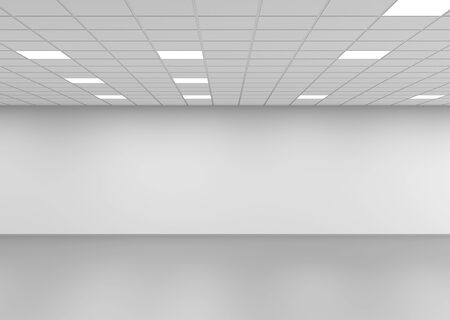 Abstract empty open space office interior background, front view, 3d rendering illustration