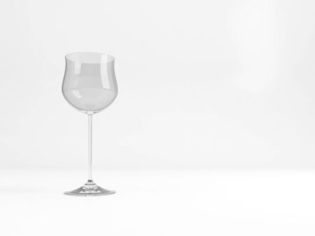 An empty standard Hock wine glass stands over white background with soft shadow , 3d rendering illustration