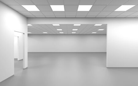 Wide open space room, an empty office interior background, 3d rendering illustration 스톡 콘텐츠